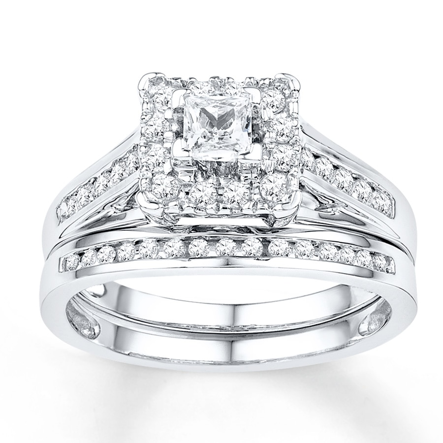 diamond wedding ring set bridal set 5 8 ct tw cut 10k white gold 3519