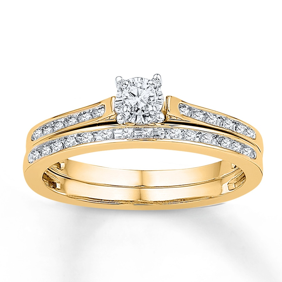 diamond wedding ring set bridal set 1 8 ct tw cut 10k yellow gold 3519