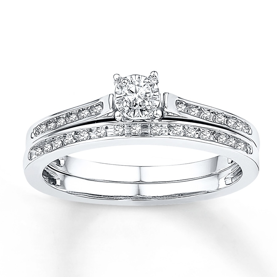 diamond wedding ring set bridal set 1 8 ct tw cut 10k white gold 3519