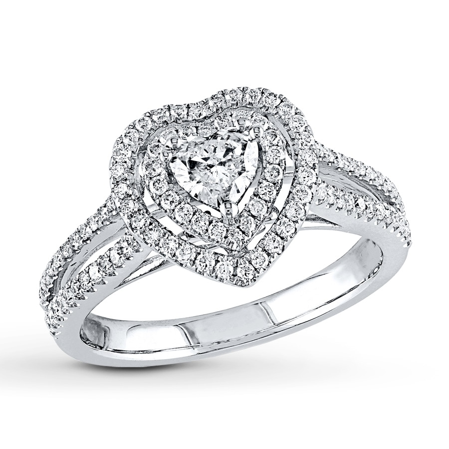 Kay Heart Ring 3 4 ct tw Diamonds 14K White Gold