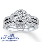 Leo Diamond Bridal Set 1 5/8 ct tw Round-cut 14K White Gold