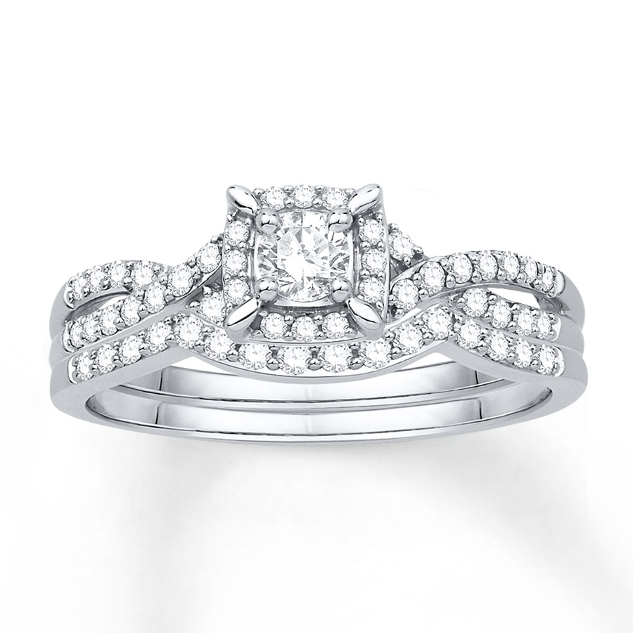Diamond Bridal Set 3/8 Ct Tw Round-cut 14K White Gold