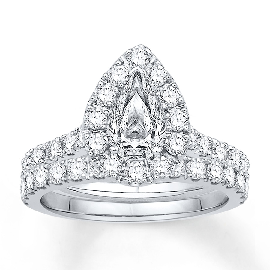 Kay Diamond Bridal Set 5 8 ct tw Pear Shape 14K White Gold