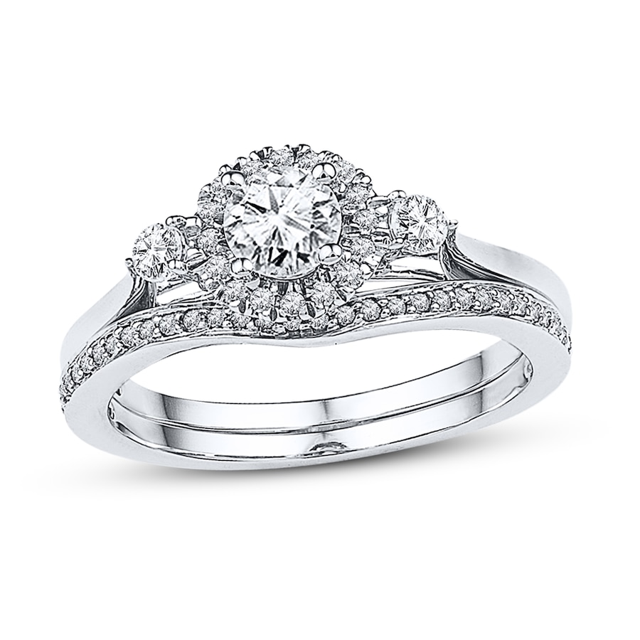 Kay Diamond Bridal Set 5 8 ct tw Round cut 14K White Gold