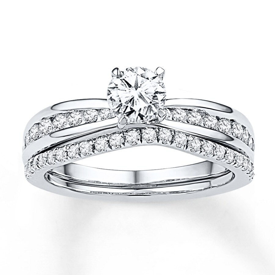 Diamond Bridal Set 7 8 Ct Tw Round Cut 14k White Gold