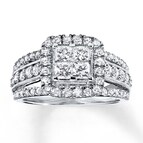 Engagement Ring 1 1/2 ct tw Diamonds 14K White Gold