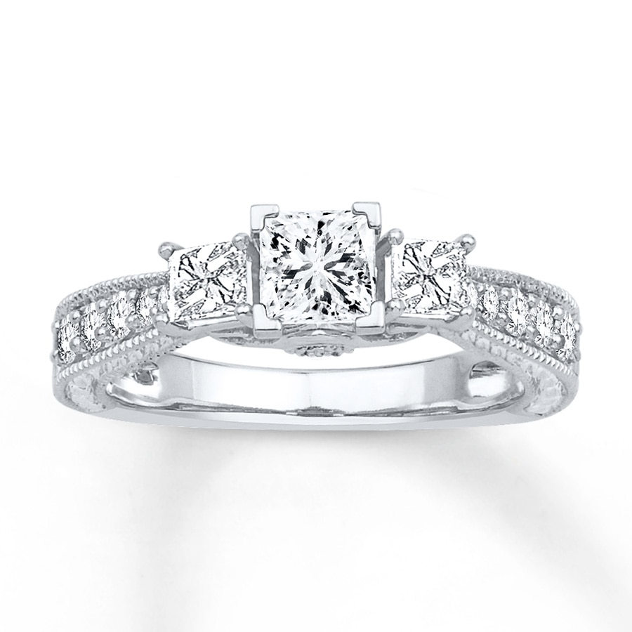 876195126 3-Stone Diamond Ring 1 ct tw Princess-cut 14K White Gold. Tap to expand
