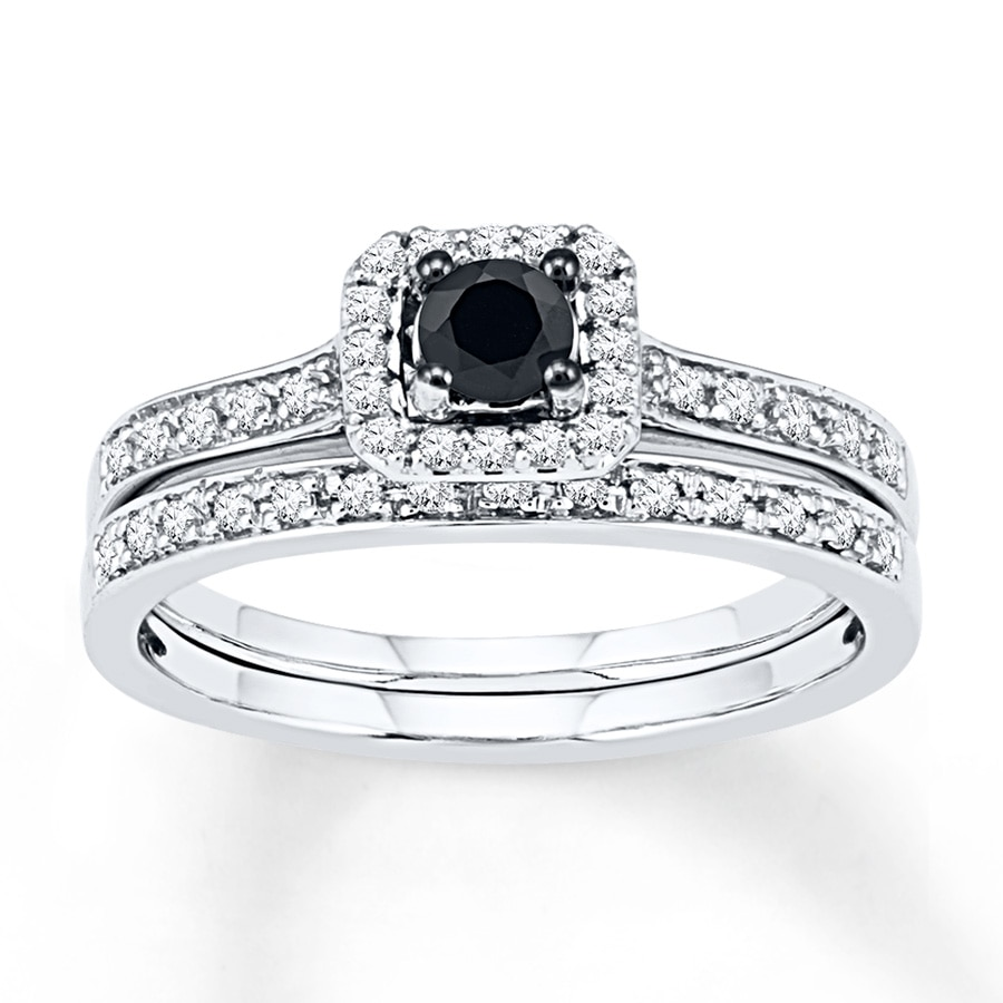5af735f24ae Black & White Diamond Bridal Set 1/2 ct tw 10K White Gold