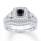 Black & White Diamonds 7/8 ct tw Bridal Set 10K White Gold