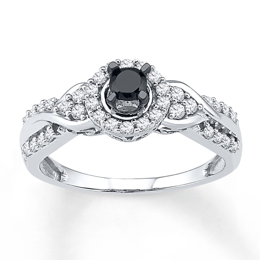 Artistry Diamonds Black & White Diamonds 1/2 ct tw Round-cut 10K White Gold Ring MulShM