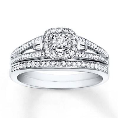Diamond Bridal Set 1/5 carat tw 10K White Gold