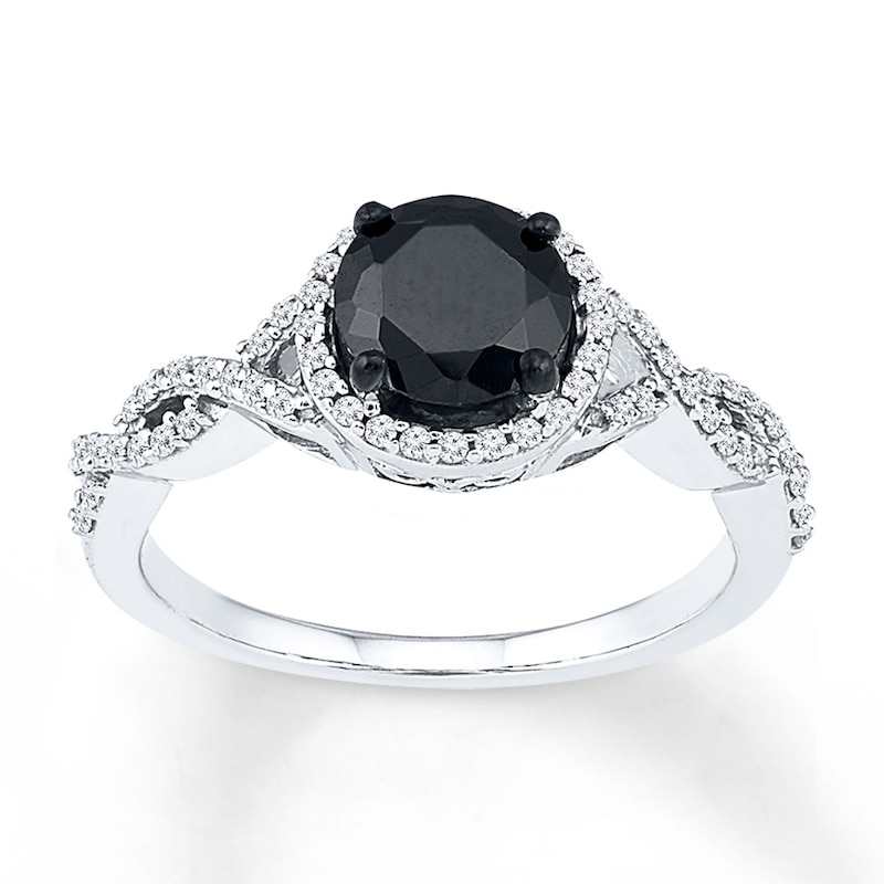 Black Diamond Ring 1-1/5 ct tw Round-cut 10K White Gold | Halo ...
