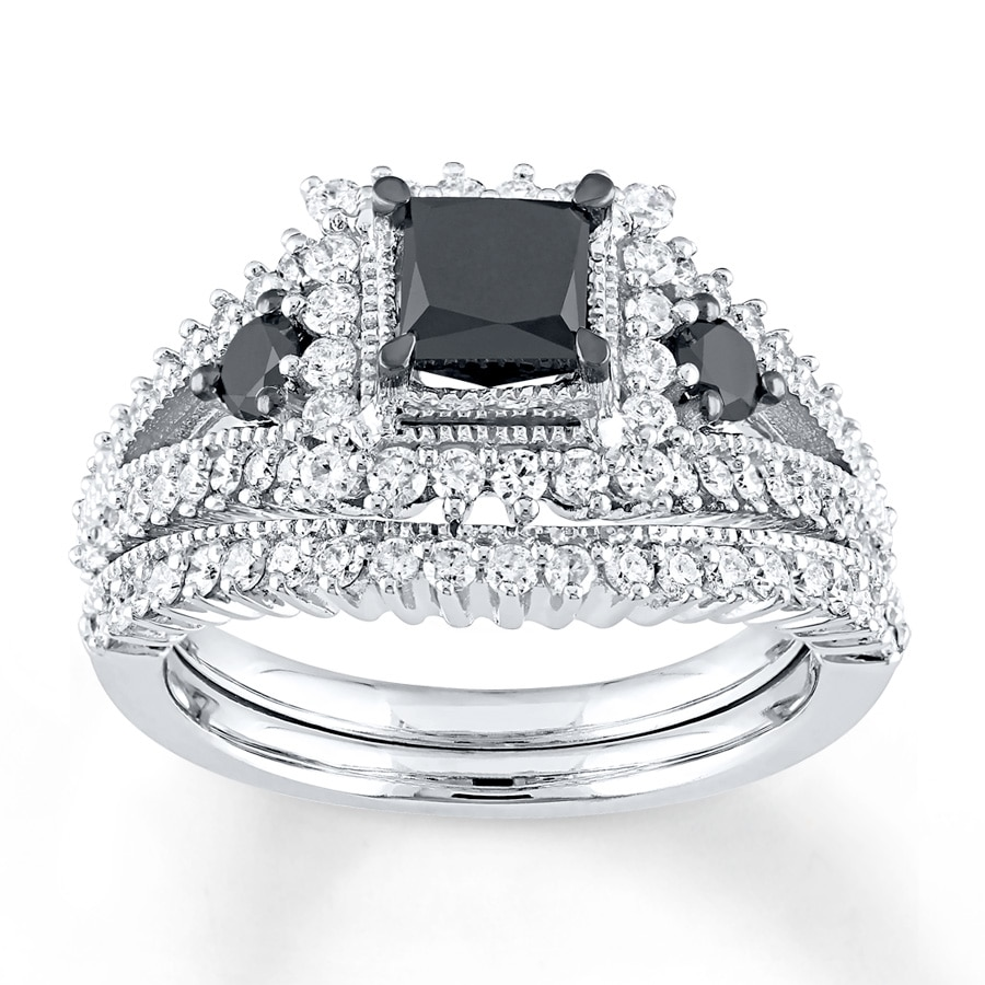 f587fb5457c Black Diamond Bridal Set 1-7/8 cttw Princess-cut 10K White Gold