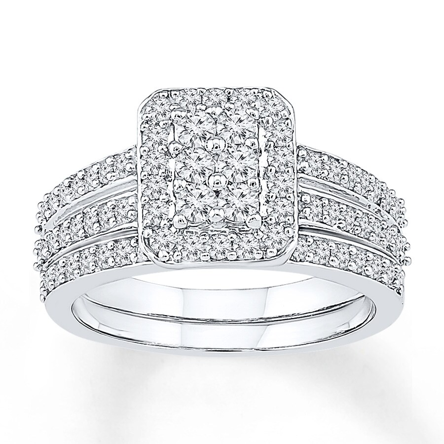 Diamond Bridal Set 1 Ct Tw Round-cut 14K White Gold