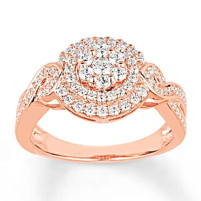 Engagement Ring 3/4 ct tw Diamonds 14K Rose Gold