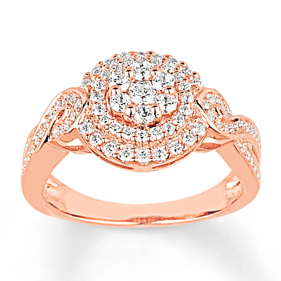 Kay Engagement Ring 3 4 ct tw Diamonds 14K Rose Gold