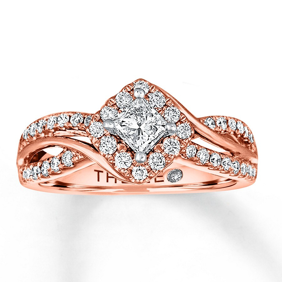 Leo Diamond Engagement Ring 3/4 Ct Tw Diamonds 14K Rose