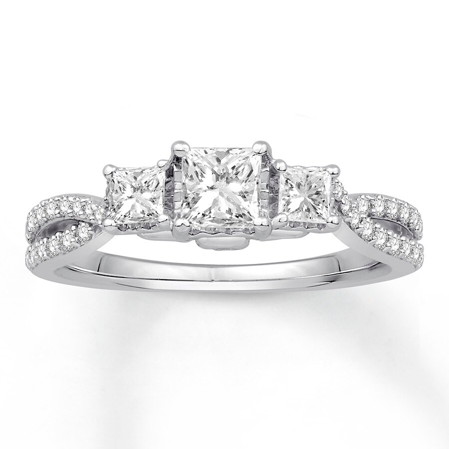 Diamond Engagement Ring 1 ct tw Princess Round 14K White Gold. Tap to expand 1affd724066c