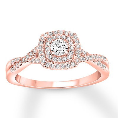 Diamond Engagement Ring 3/8 Carat tw 10K Rose Gold