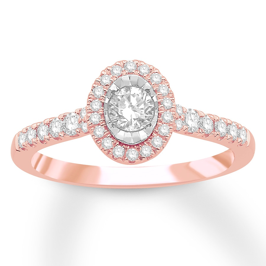 Kay Diamond Engagement Ring 1 2 Carat tw 10K Rose Gold