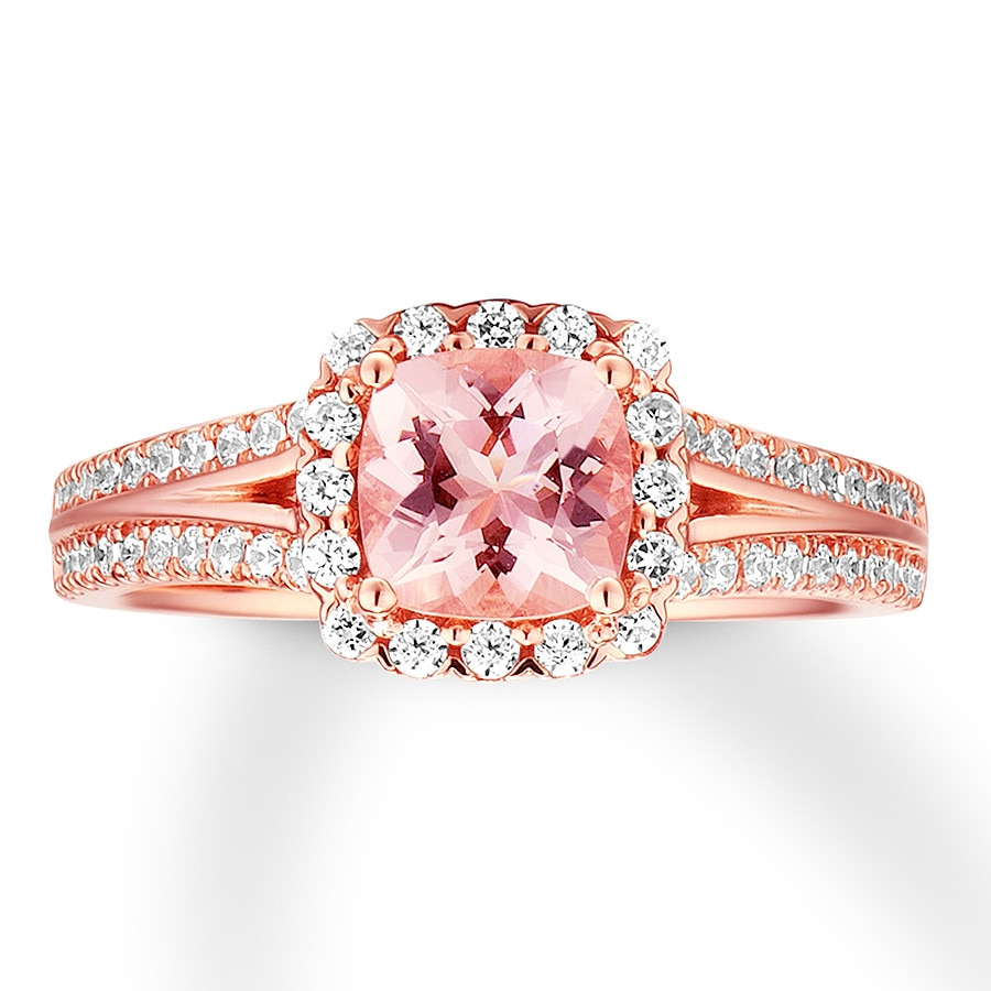 Morganite Engagement Ring 3/8 ct tw Diamonds 14K Rose Gold ...