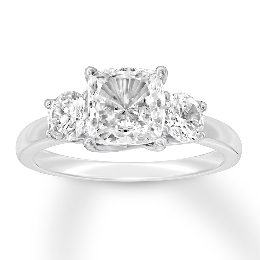 3 Stone Diamond Ring 2 3 4 Ct Tw Cushion Round 14k White Gold