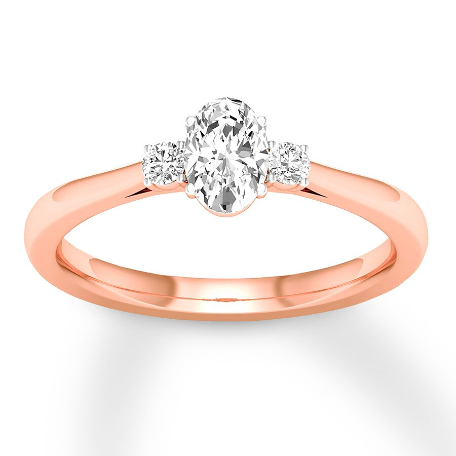 Three Stone Diamond Ring 1 2 Ct Tw Oval Round 14k Rose Gold