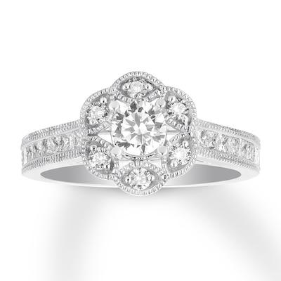 Diamond Engagement Ring 1 ct tw Princess/Round 14K White Gold