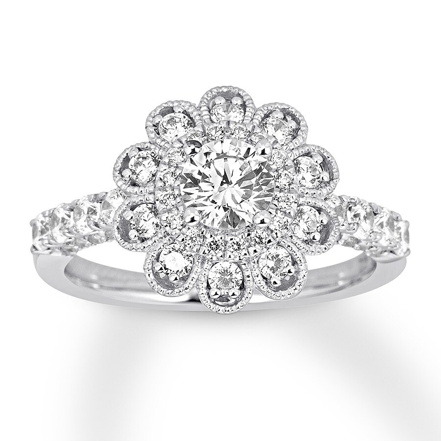 Floral Diamond Engagement Ring 1 38 Ct Tw 14k White Gold