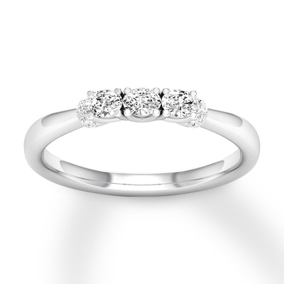 Three-Stone Diamond Ring 1/2 ct tw Round-cut 10K White Gold