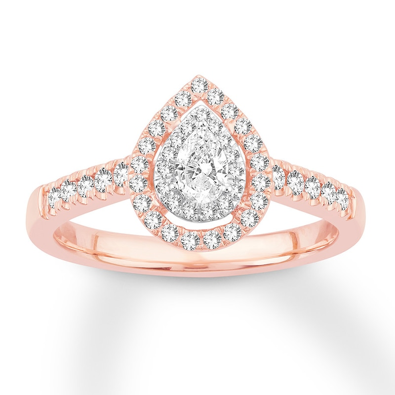 Pear Shaped Diamond Engagement Ring 1 2 Ct Tw 14k Rose Gold Kay