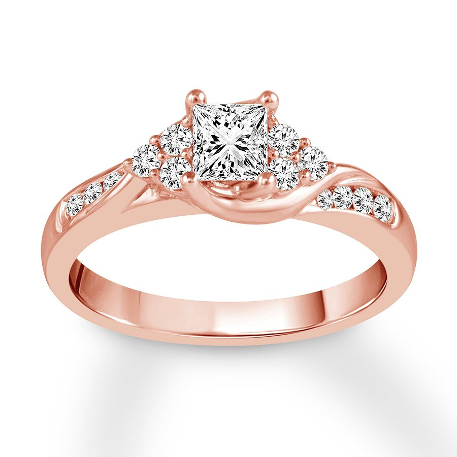 Princess-cut Diamond Engagement Ring 3/4 Ct Tw 14K Rose
